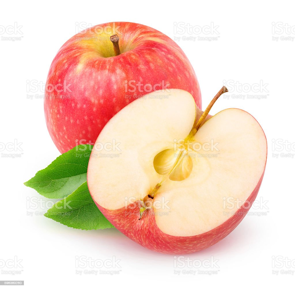 Isolated cut red apple royalty-free stock photo