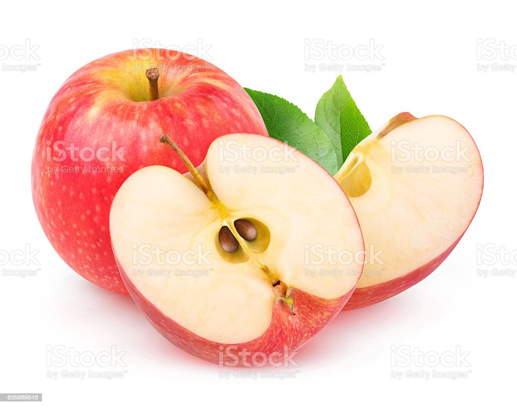Isolated cut red apples ストックフォト