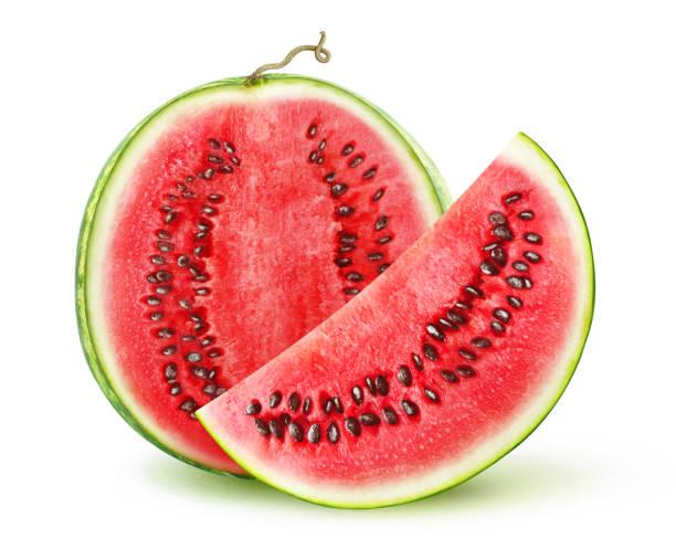 isolierte geschnittenen wassermelone - 25 cent stück stock-fotos und bilder