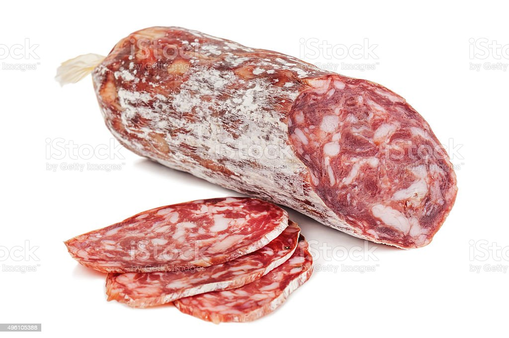 isolated delicious salami stock photo