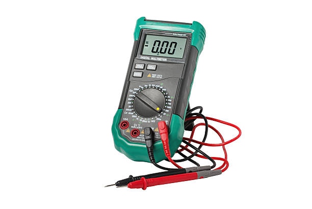 Isolated digital multimeter and probes stock photo
