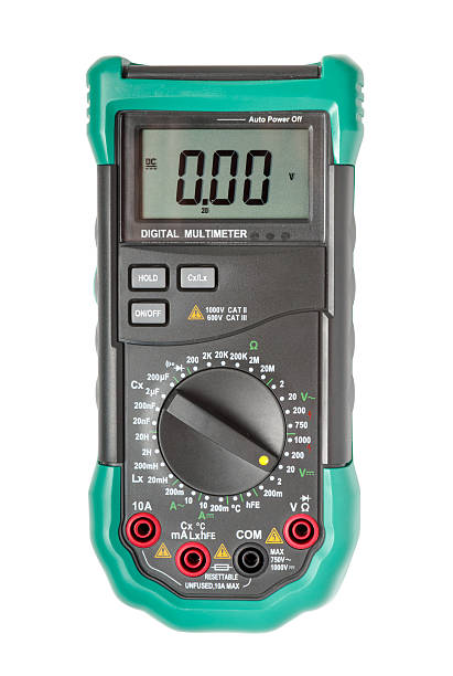 Isolated digital multimeter top view stock photo