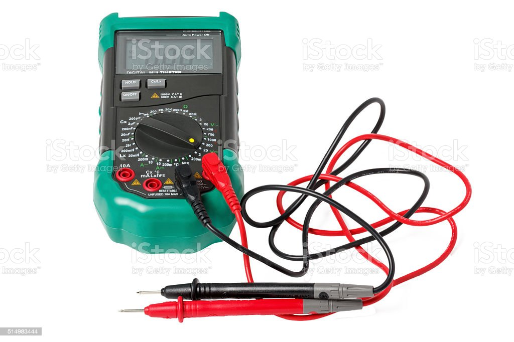 Isolated digital multimeter with probes stock photo