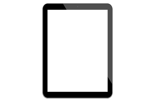 Digital Tablet Isolated on a plain white background.