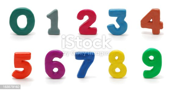 Random Colored Digits in Alphabetical Order Isolated on White (zero, one, two, three, four, fixe, six, seven, eight, nine)