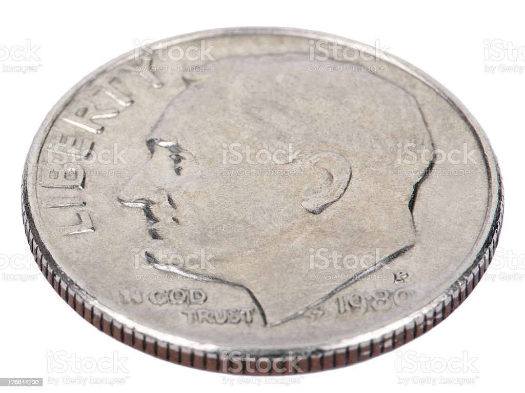Isolated Dime - Heads High Angle stock photo