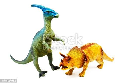 istock Isolated dinosaur on white background 876427582