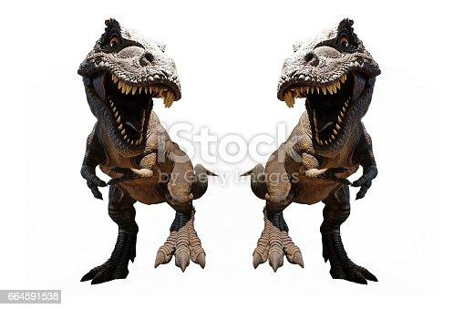 istock Isolated Dinosaurs model on white background 664591538