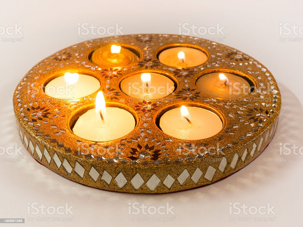 Isolated Diya lamps used in Diwali celebrations stock photo
