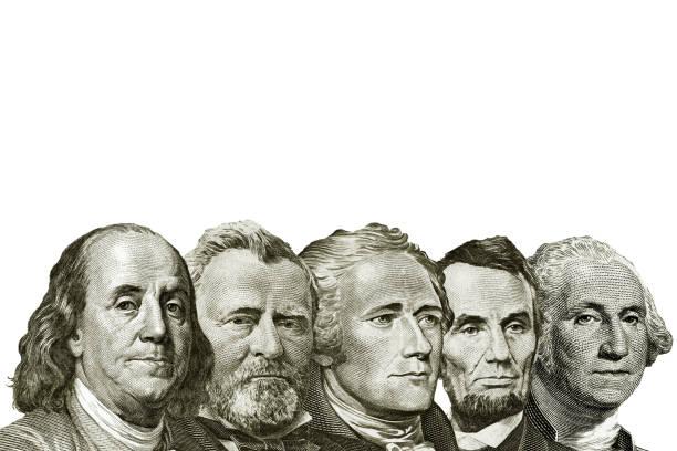 isolated dollars on white background isolated dollars on white background president stock pictures, royalty-free photos & images