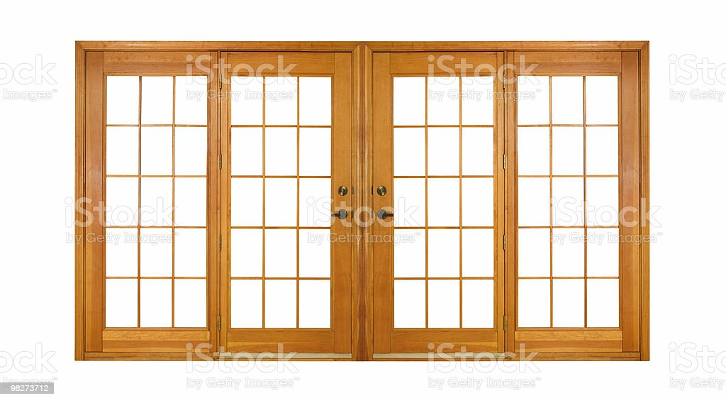 Isolated Double Doors (clipping path) royalty-free stock photo