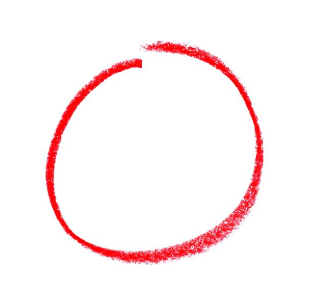 Isolated drawn red circle stock photo