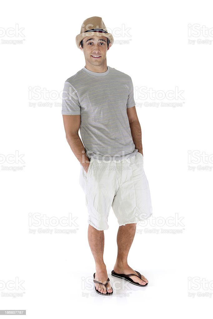 Isolated dude hands in pockets hat on head royalty-free stock photo