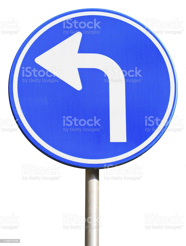 Isolated dutch blue road sign pointing left royalty-free stock photo
