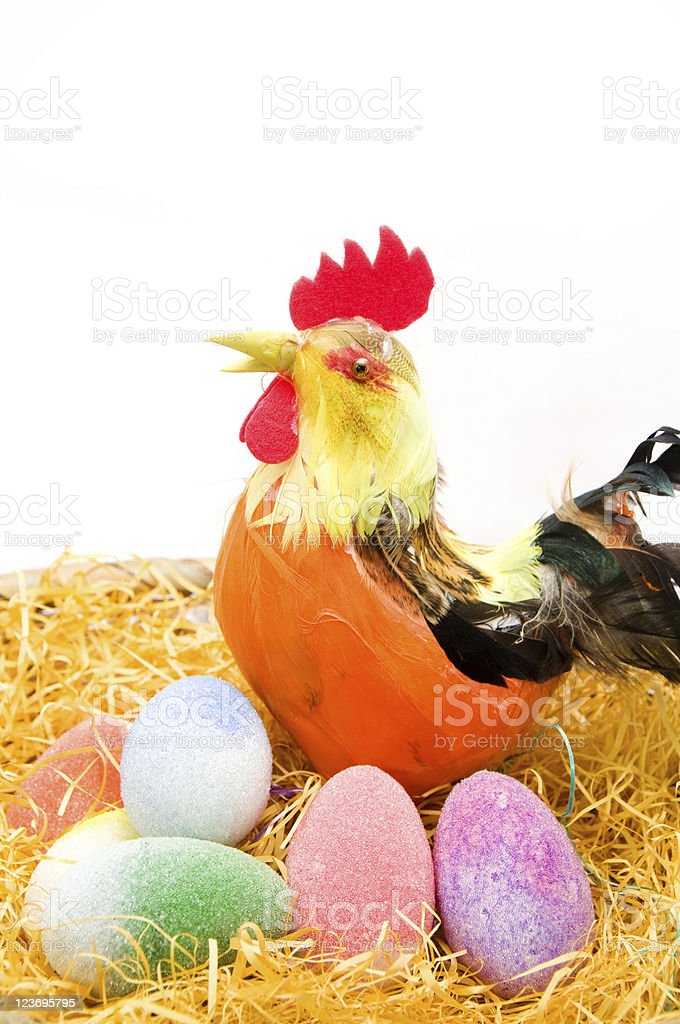 Isolated Easter basket with Eggs royalty-free stock photo
