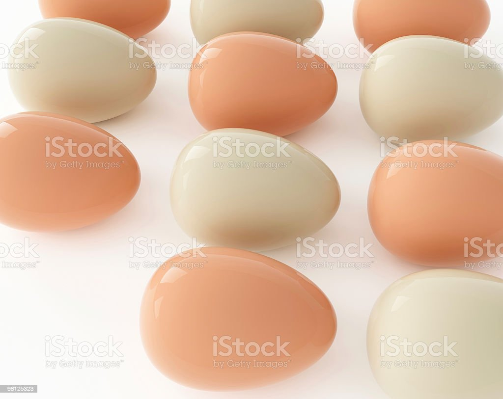 isolated easter eggs on white background in row royalty-free stock photo