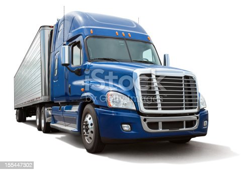 Blue semi truck or 18 wheeler hauling a metal cargo bay isolated on white. Clipping path provided for truck. Canon 5DMarkII. File meticulously cleaned up in Photoshop.