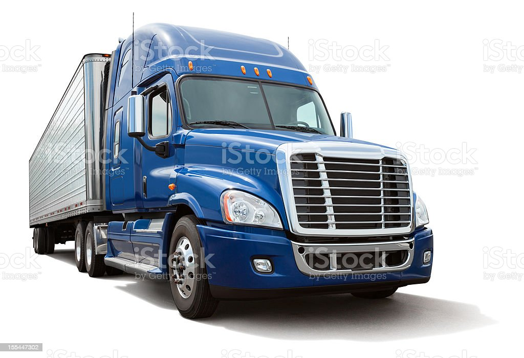 Isolated Eighteen Wheel Semi Truck with Blue Cab on White stock photo
