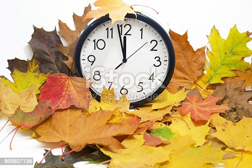 607492948 istock photo Isolated electronic wall clock. Autumn abstraction. 859807138