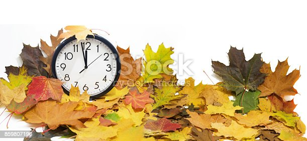 607492948 istock photo Isolated electronic wall clock. Autumn abstraction. 859807196