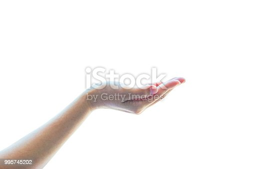 Isolated empty open human hands with palm raised upward in holding posture on white background