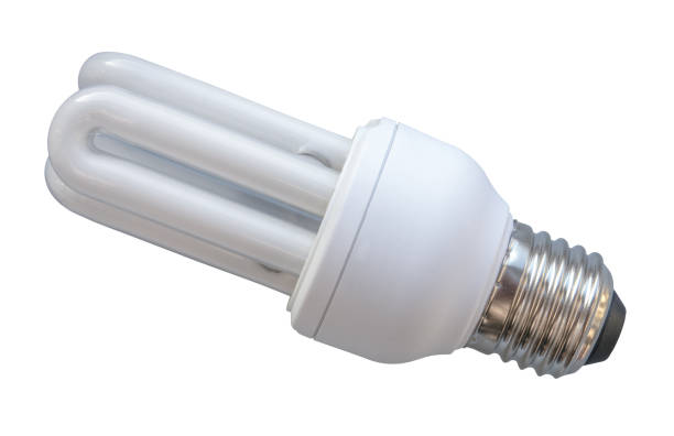 Isolated Energy Saving Lightbulb Isolated White Energy Saving Eco CFL Lightbulb canadian football league stock pictures, royalty-free photos & images