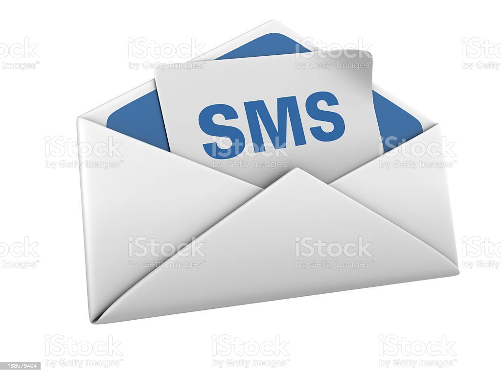Isolated Envelope with SMS royalty-free stock photo