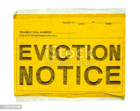 Isolated Eviction Notice On Yellow Paper With Sticky Tap On A White Background