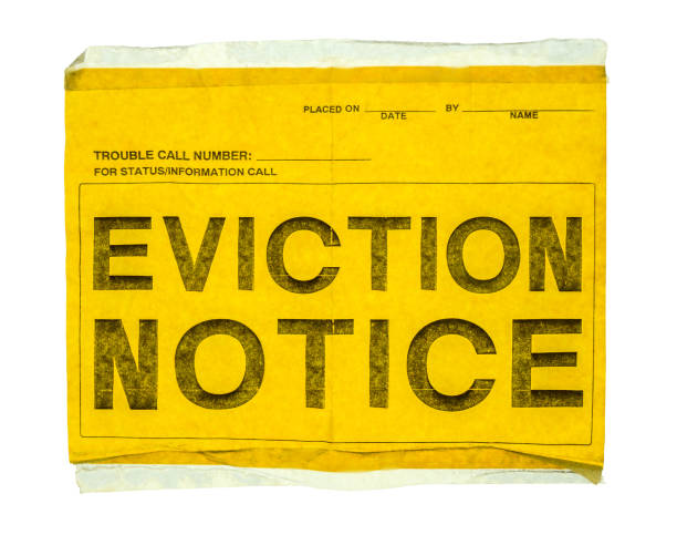 Isolated Eviction Notice Isolated Eviction Notice On Yellow Paper With Sticky Tap On A White Background information sign stock pictures, royalty-free photos & images