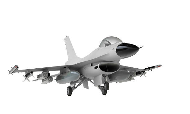 Isolated F-16 fighter jet on white background A model of an F-16 isolated on white f 16 fighting falcon stock pictures, royalty-free photos & images