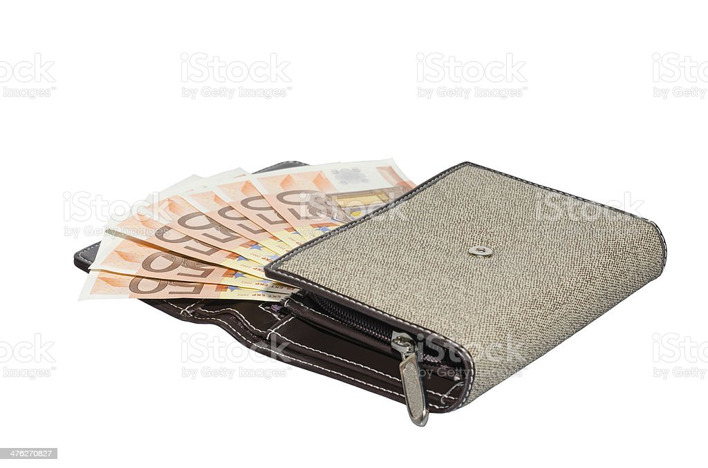Isolated fabric women's purse wallet with 50 euro banknotes royalty-free stock photo