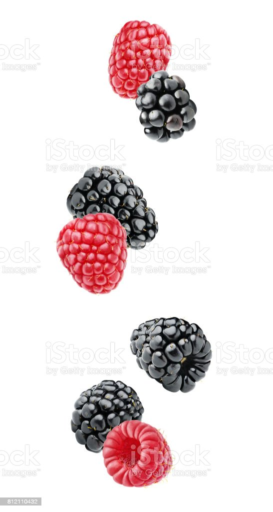 Isolated falling berries stock photo