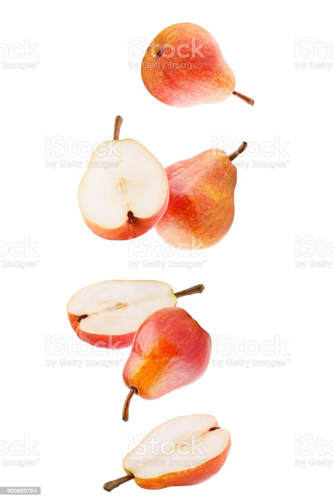 Isolated falling fruits. Falling sweet pear fruits isolated on white background with clipping path as package design element - foto stock