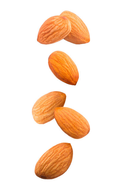 Isolated falling nuts. Falling almonds isolated on white background with clipping path as package design element. stock photo
