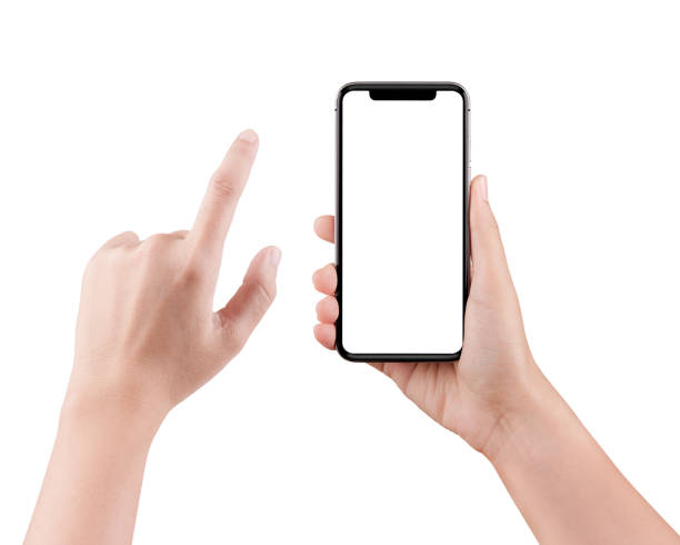 Isolated female hand holding a cellphone with clipping path, Woman typing on mobile phone isolated on white background. stock photo