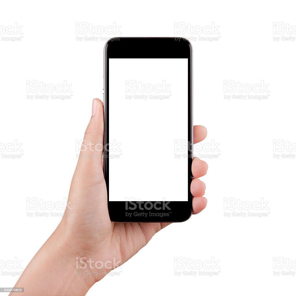 Isolated female hand holding a cellphone with white screen stock photo