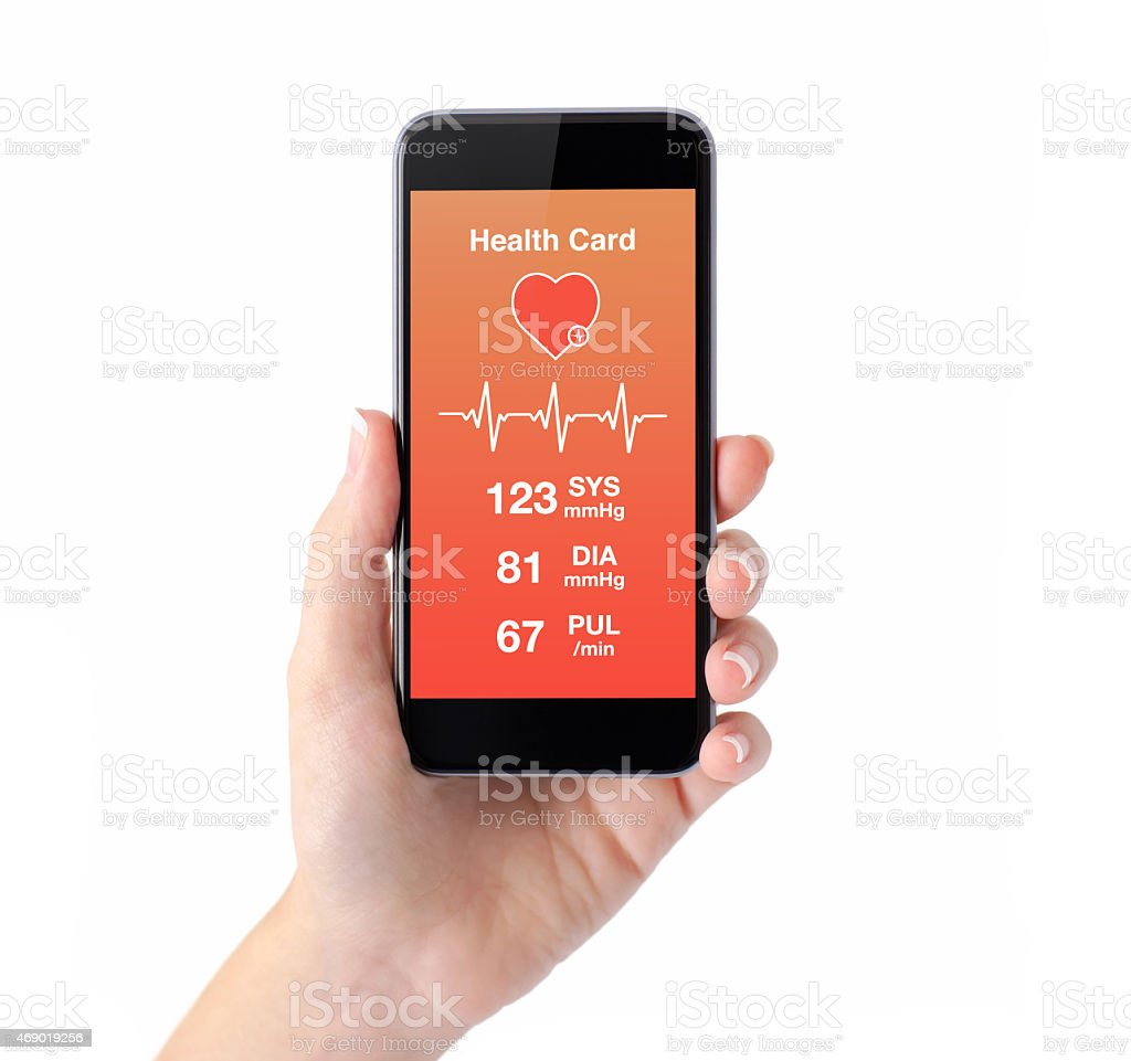 isolated female hand holding a phone health card monitoring stock photo