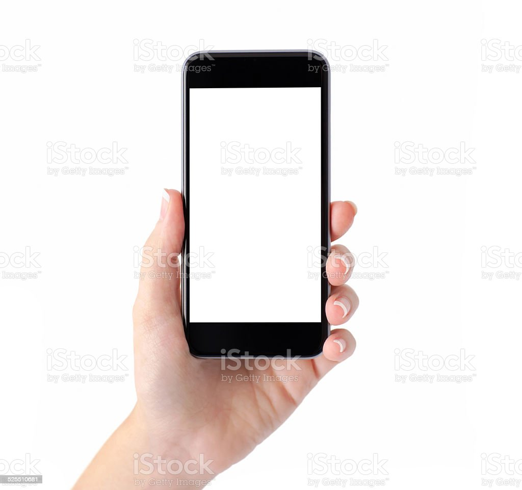 Isolated female hand holding a phone with white screen stock photo