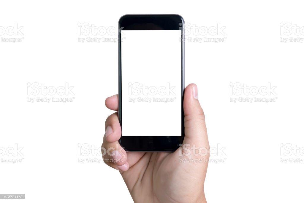 Isolierte weibliche hand hält das Telefon mit weißer Bildschirm – Foto