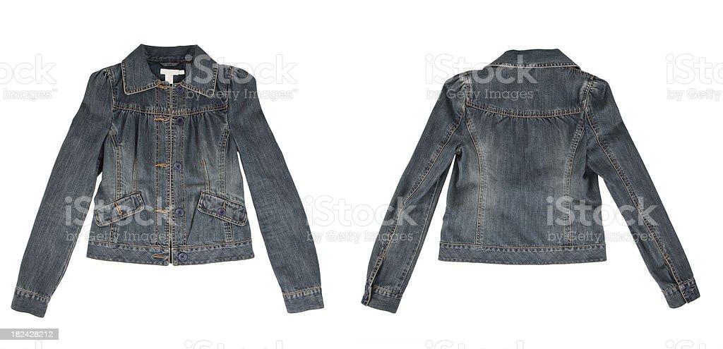 isolated female jean jacket stock photo