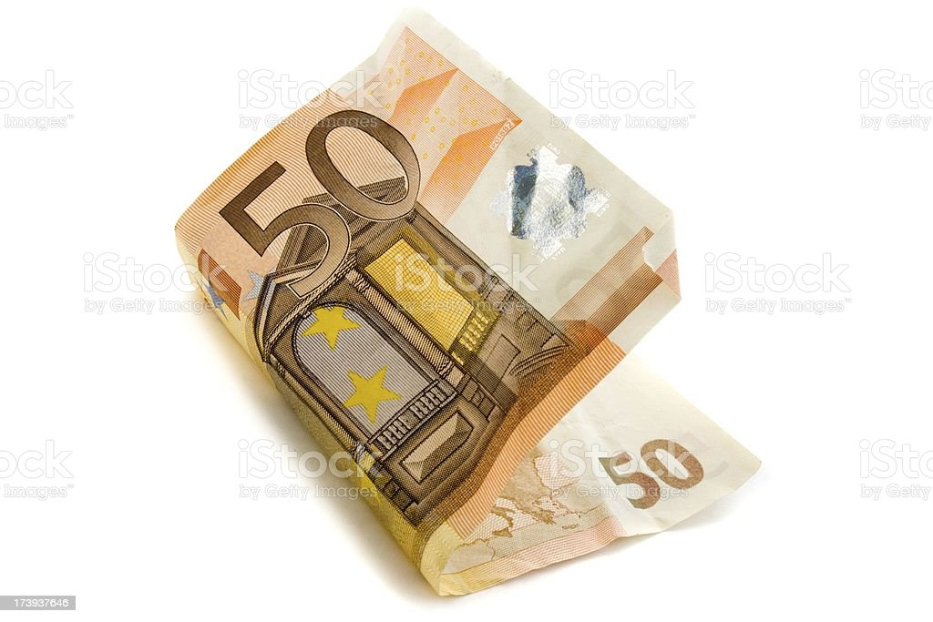 isolated fifty euro note royalty-free stock photo