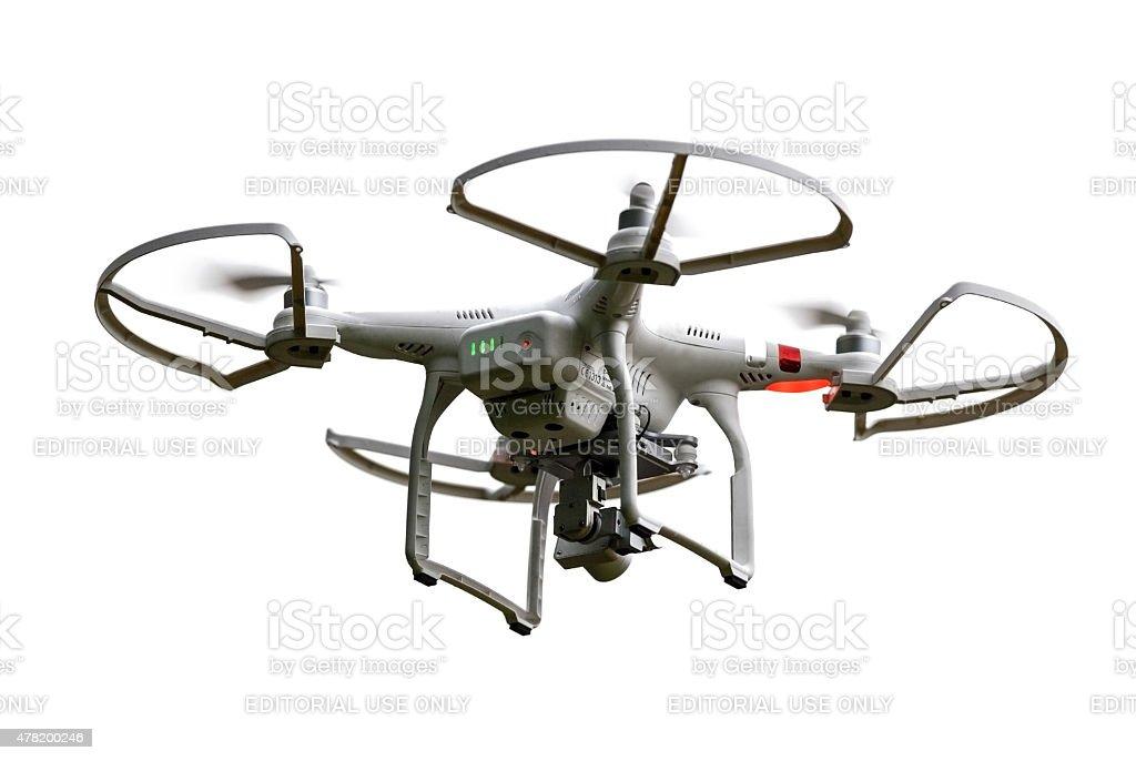Isolated Flying Phantom Drone stock photo