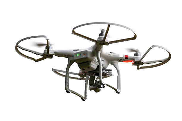 isolated flying phantom drone - drones stock photos and pictures