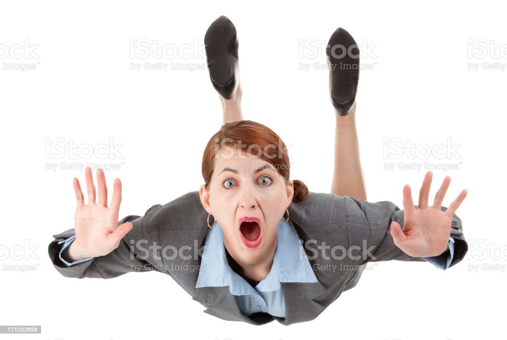 Isolated Free Falling Business Woman stock photo