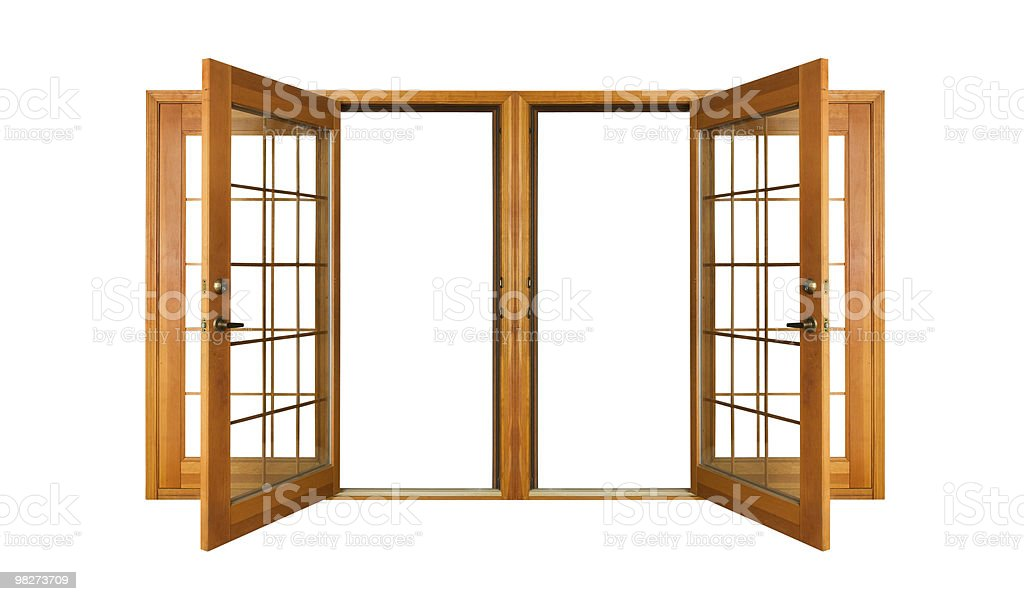 Isolated French Doors (clipping path) stock photo