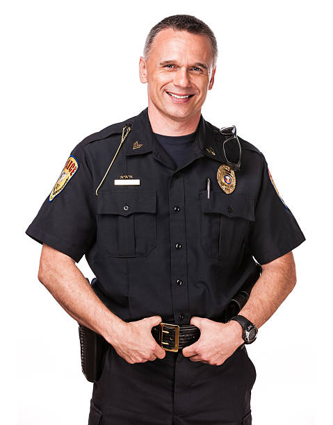 izolowane: przyjazna policjant - policja zdjęcia i obrazy z banku zdjęć