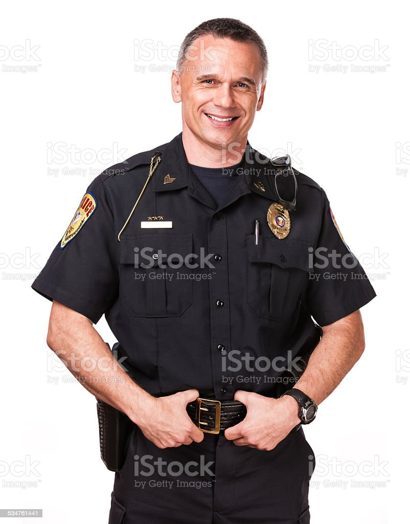 Isolated: Friendly Police Officer stock photo