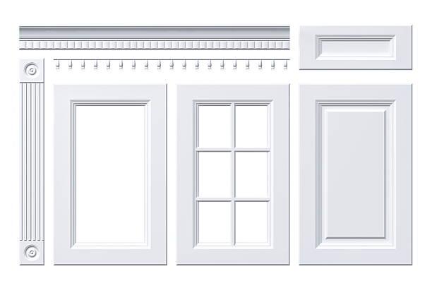 isolierte vorderseite weiß tür, schublade, spalte, schneeverwehung für küche schrank - geschlossene küchen stock-fotos und bilder