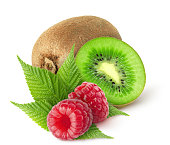 Two raspberry and whole kiwi and half isolated on white background with clipping path
