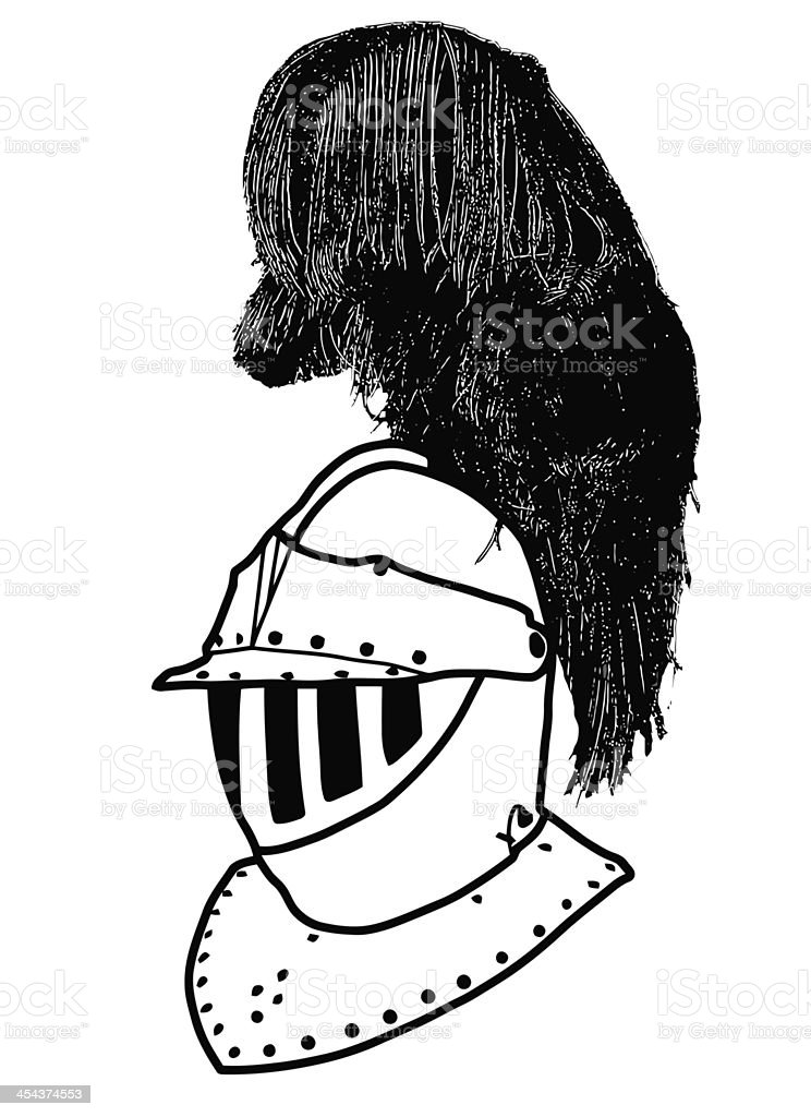 Isolated Full Face 16th Century War Helmet with Plumage stock photo